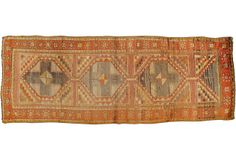 """Vintage Oushak with a great color combination of brown, gray, coral, and orange; 4' x 10'8""""; OKL price: $1,895.00."""