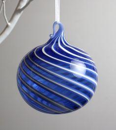 blue swirl blown glass ornament. $25.00, via Etsy.