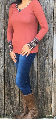 Women's Long Sleeve Aztec Thermal Top
