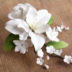 White Alstroemeria Lily Spray readymade sugarflower by hand from gumpaste. | CaljavaOnline.com