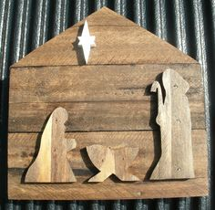 Christmas Nativity made from recycled pallet wood. I made them as Christmas presents last year for family and friends. Website: James Waligora on Pinterest