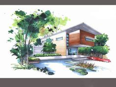 Maquette Architecture, Architecture Drawing Plan, Architecture Design, Colorful Pictures, Art Pictures, Building Painting, Perspective Drawing, Marker Art, Facade House