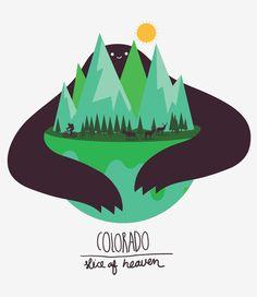 Colorado - Slice of Heaven // Tshirt Design by Thumbdemon, via Behance
