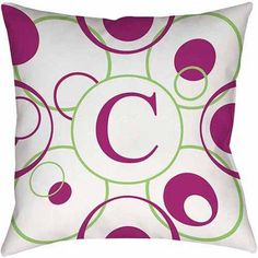 Thumbprintz Circle Variations Monogram Bright Decorative Pillows, Multicolor
