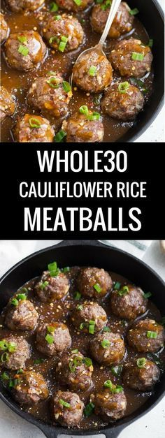 A delicious and saucy Whole30 cauliflower rice meatballs recipe. It's perfect to add into your Whole30 meal plan and freeze and heat up later. Easy whole30 recipes I Whole30 recipes I Whole30 meatballs I Paleo meatballs I The Movement Menu II #whole30 #paleorecipes