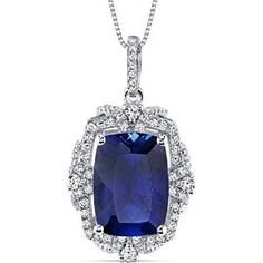 9.00 Carats Created Sapphire Gallery Pendant Sterling Silver Cushion Cut available at joyfulcrown.com
