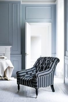 The Mayfair Tufted Chair     This demure tufted chair in the style of Charles X is distinguished by its elegantly canted back and gently curved seat. Ebonized mahogany legs and polished-nickel casters play to its glamorous sensibility.