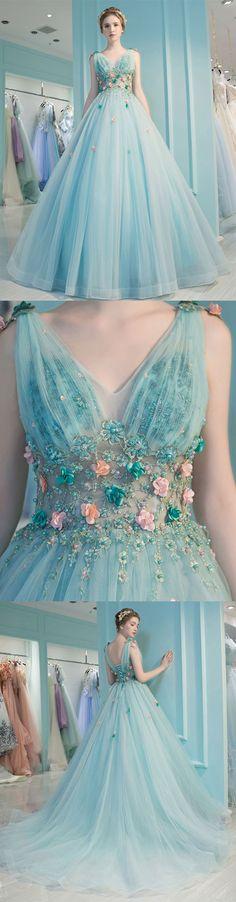 Blue v neck tulle long prom dress, blue evening dress