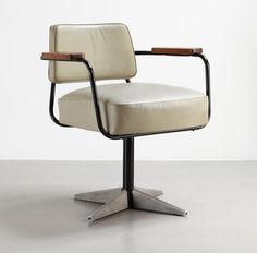 direction no. 353 swiveling office chair, 1951 bent sheet steel, steel tube, sheet aluminum 'diamond point' motif, leatherette and wood collection laurence and patrick seguin image © galerie patrick seguin