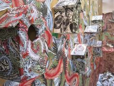 Liam Howard - collaged bird boxes