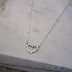 Gold Necklace Heart Pendant 14 karat gold by TalesInGold on Etsy