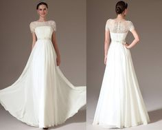 Custom Made Long Embroidered Lace Top Wedding Dress  01140807