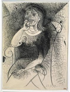 Pablo Picasso  Woman in an armchair  pen and India ink on pencil strokes  27 x 20cm  Collection: Musée Picasso, Paris