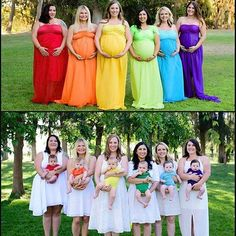 Pregnant bridesmaid bumps to babies. What a colorful picture! Once all the babies are born the woman are all dressed in white. How clever. Cute too! Colorful Pictures, Baby Pictures, Cute Pictures, Beautiful Pictures, Pregnant Bridesmaid, Best Friend Goals, Rainbow Baby, Cute Babies, Maternity