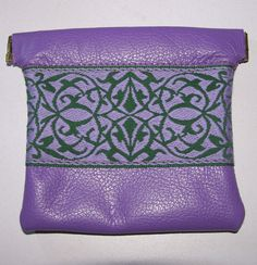 Purple/Lavender LEATHER Embroidered Trim by ScentedSoftandSewn