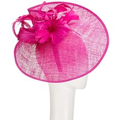 John Lewis Carla Pinched Disc and Flower Occasion Hat, Fuchsia (145 CAD) ❤ liked on Polyvore featuring accessories, hats, feather hat, john lewis, john lewis hats, flower hat and round hat
