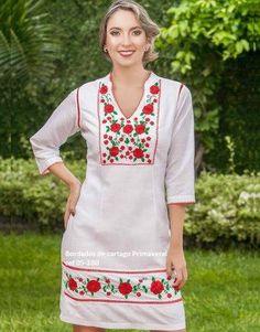 CONJUNTOS Y VESTIDOS - PRIMAVERAL Bordados y Accesorios Ethnic Fashion, Womens Fashion, Boho Outfits, Sewing Hacks, Sewing Patterns, Curvy, Fashion Dresses, Glamour, Embroidery