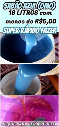SABÃO AZUL (OMO CASEIRO) 16LTS com menos de R$5,00 - Super fácil e rápido de fazer! Esse sabão líquido é sinônimo de qualidade, super fácil de fazer, poucos ingredientes, bem barato, rende muito, espuma abundante e a roupa não fica com cheiro de óleo!! #sabão #caseiro #líquido #óleo #omo #lavar #roupa #limpar #dica #truque #receita