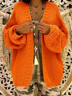 Orange V-neck Long Sleeve Oversized Cardigan Sweater - Cardigans - Sweaters - Tops Sacs Design, Oversized Knit Cardigan, Sweater Coats, Cardigans For Women, Cardigan Sweaters For Women, Types Of Sleeves, Knitwear, Ideias Fashion, Knitting
