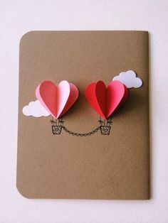 Valentine Day Diy Cards Heart Hot Air Balloon Card 25 Easy Diy Valentine S Day Cards Nogie Valentines Bricolage, Valentine Day Crafts, Be My Valentine, Diy Valentines Cards, Printable Valentine, Valentine Wreath, Simple Valentines Gifts For Him, Homemade Valentine Cards, Cute Valentine Ideas