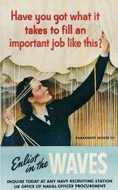 She is rigging parachutes. John Falter Poster, 1944