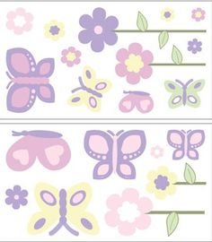 Shower gift!  Adorable for a baby girls room pink and purple butterfly wall decals. $21.99  #BeautifulBabyShower