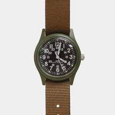 1960s US Vietnam Military Watch - Olive with Khaki Strap