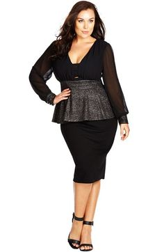 City Chic Sparkle Peplum Top (Plus Size) available at #Nordstrom