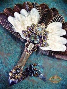 Image of ALDERQUEEN - Turkey Feather Smudge Fan Spectralite Amethyst Pagan Altar Art