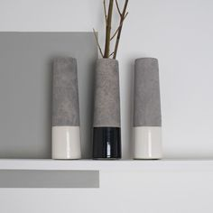 Add an industrial edge to your living room with this concrete tube vase. Comes dipped in either black or white glaze. Floating Shelves, Concrete, Bedroom Decor, Vase, Industrial, Interiors, Living Room, Home Decor, Accessories