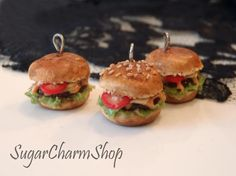 Polymer clay burger charm - necklace or earrings.