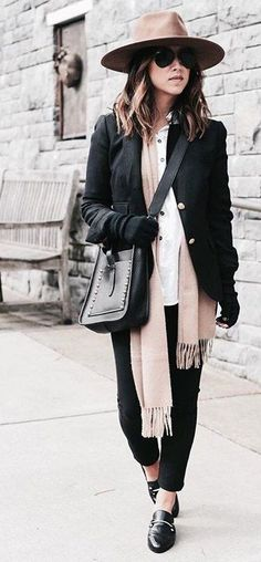 #fall #outfits · Cashmere Scarf + Hat + Shoulder Bag