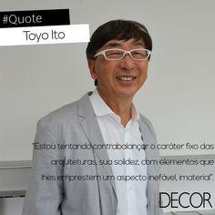 O japonês Toyo Ito é conhecido por seus traços de arquitetura conceitual, aliando aspectos concretos e abstratos em seus projetos. Em 2013 foi agraciado com o prêmio máximo da arquitetura, o Pritzker, demonstrando a importância e consolidação absoluta de seu trabalho. Com o uso de linhas contemporâneas, é considerado um dos profissionais mais inovadores da área.
