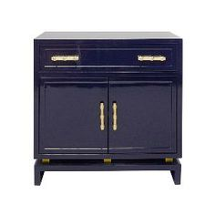 Navy Lacquer Nightstand-FREE SHIPPING. Product in photo is from www.wellappointedhouse.com