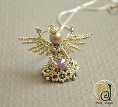 Angel pendant necklace, silver angel, angel Swarovski crystal, butterfly, Prang Designs