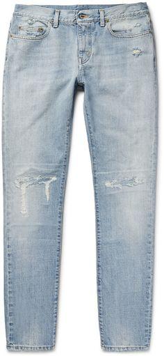 $760, Saint Laurent Skinny Fit 16cm Distressed Washed Denim Jeans. Sold by MR PORTER. Click for more info: https://lookastic.com/men/shop_items/430959/redirect