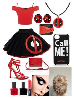 """deadpool inspired outfit"" by ladybug-as-sassy ❤ liked on Polyvore"