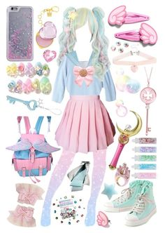 """I'm ""secretly"" a magical girl!"" by sw-13 on Polyvore featuring Acne Studios, Bandai, Topshop, Pumpkin Patch, Glitter Pink, Vera Wang and Swarovski"