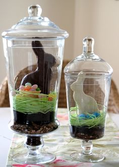 Craft an Edible Terrarium : HGTVGardens  Decorative glass jars  English toffee-chopped into small pieces  Oreo cookies-creme centers removed and broken into fine pieces  Edible Easter grass  Chocolate bunnies  Ice cream cones  Jelly Beans  Candy eggs