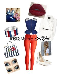"""""""Untitled #77"""" by anitababe46 ❤ liked on Polyvore featuring Kris Jane, Joules, Carolina Herrera, Jimmy Choo, Dolce&Gabbana, redwhiteandblue and july4th"""