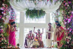 Indian Bride and Groom Wedding Ceremony Portrait http://www.maharaniweddings.com/gallery/photo/86092
