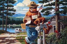 For 70 years, children and adults have written to Smokey Bear, the U. Forest Service symbol for wildfire prevention. So many letters were sent in the that the U. Postal Service authorized a ZIP code – 20252 – just for Smokey. Us Forest Service, Forest And Wildlife, Smokey The Bears, Nature Posters, Hope For The Future, Bear Art, Vintage Posters, Painting, Animals