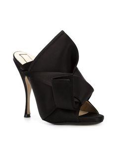 09e885f40d3 N 21 bow black heels open toe Black Mules Shoes