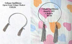 Inspirado no Colar Choker Open Front Fringe da loja Urban Outfitters que custa US$28 (equivalente a R$106) <br> <br>A reunião em uma só peça das últimas tendências em acessórios, Choker e Tassel de metal.