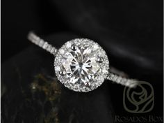 Rosados Box Kubian 6mm 14kt White Gold Round FB Moissanite and Diamonds Halo Engagement Ring