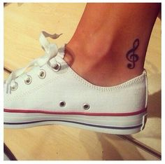 Music note ankle tattoo