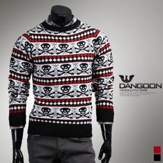 Skull Pattern Knit Sweater