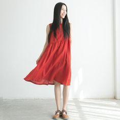 Red vest dress down cotton and linen dress