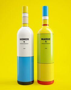 Mondrian inspired Homer and Marge wine bottles designed byConstantin Bolimond.