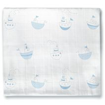 Find Free White noise, helpful baby care videos on our website - Muslin Swaddle Blanket - Little Ships #Baby #Newborn #Sleep